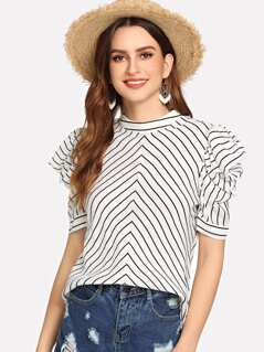 Band Collar Puff Sleeve Striped Top