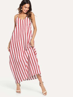 V-Neck Pocket Side Striped Oversize Cami Dress