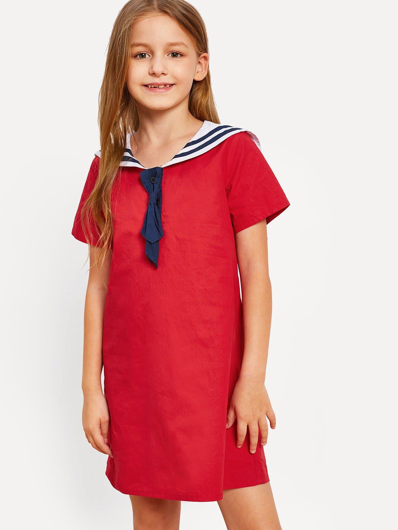 Купить Девушки с контрастным полосатым воротником, Sashab, SheIn