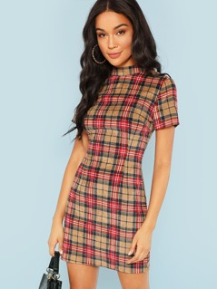 Zip Back Mock Neck Plaid Dress