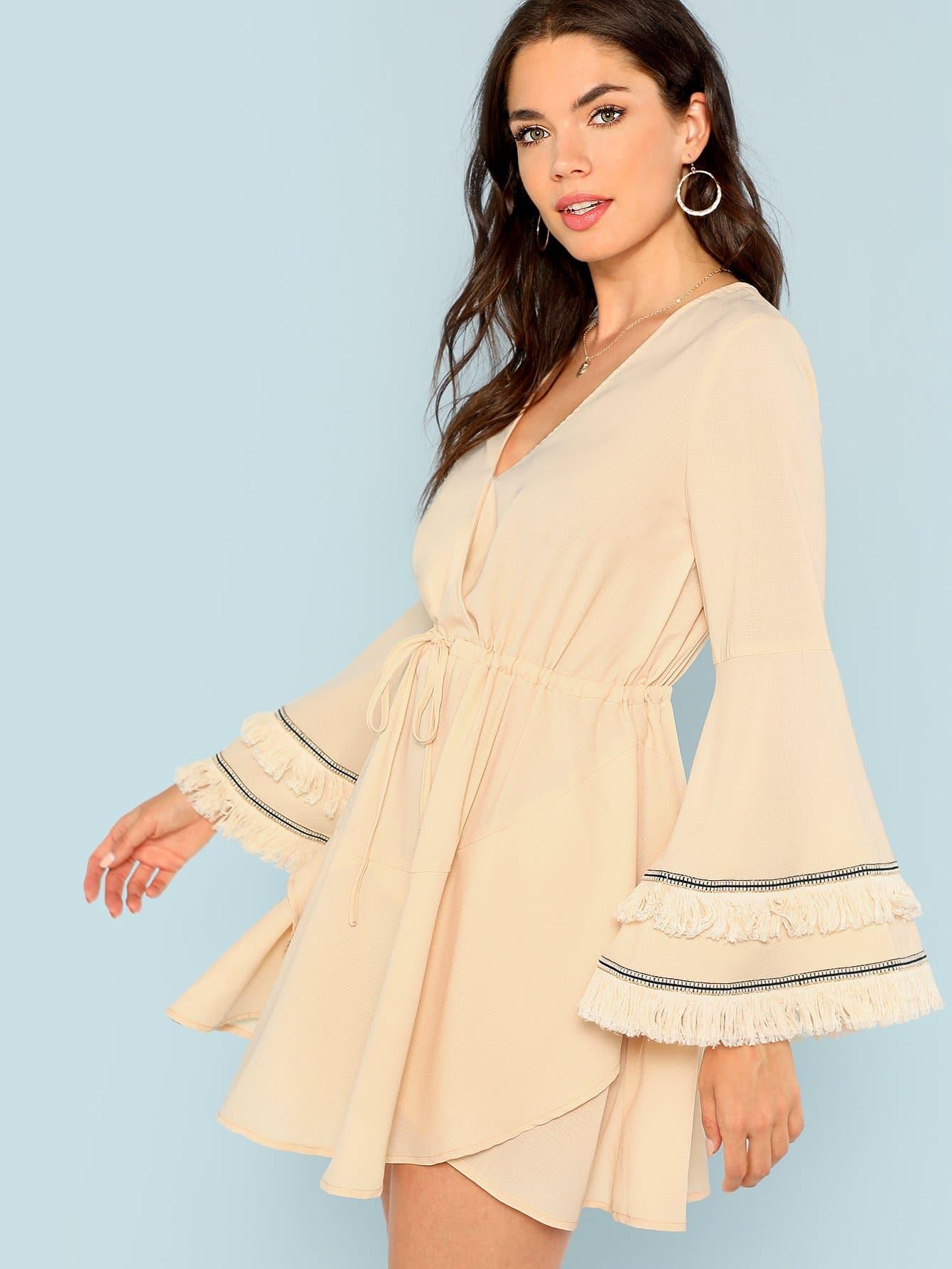 Купить Платье с слоистыми бахромами и с завязкой, Aarika Wolf, SheIn