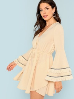 Layered Tassel Detail Drawstring Waist Dress
