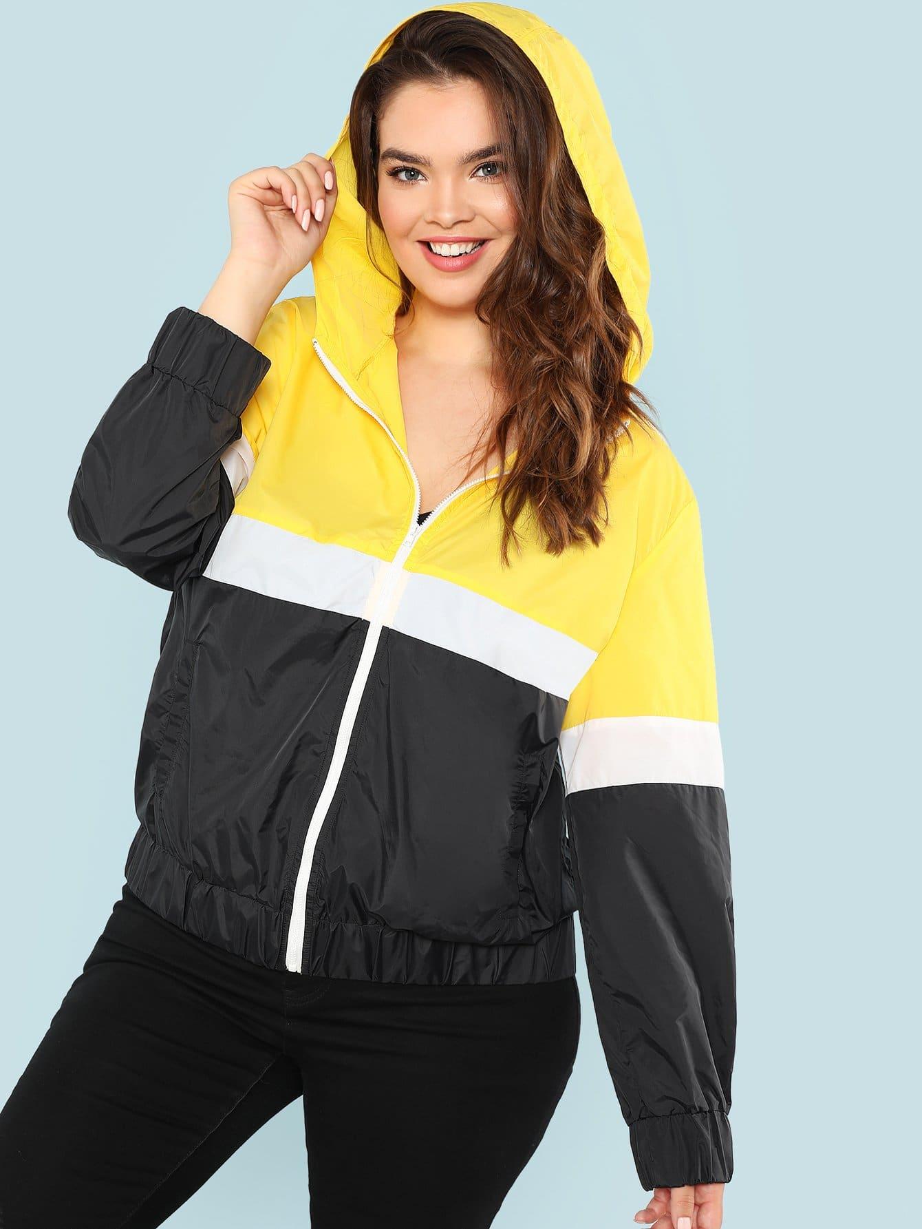 Купить Плюс Куртка с капюшоном, Faith Bowman, SheIn