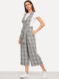 Belted Plaid Print Wide Leg Jumpsuit