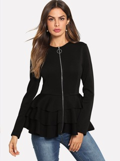O-Ring Zip Up Tiered Layer Hem Coat