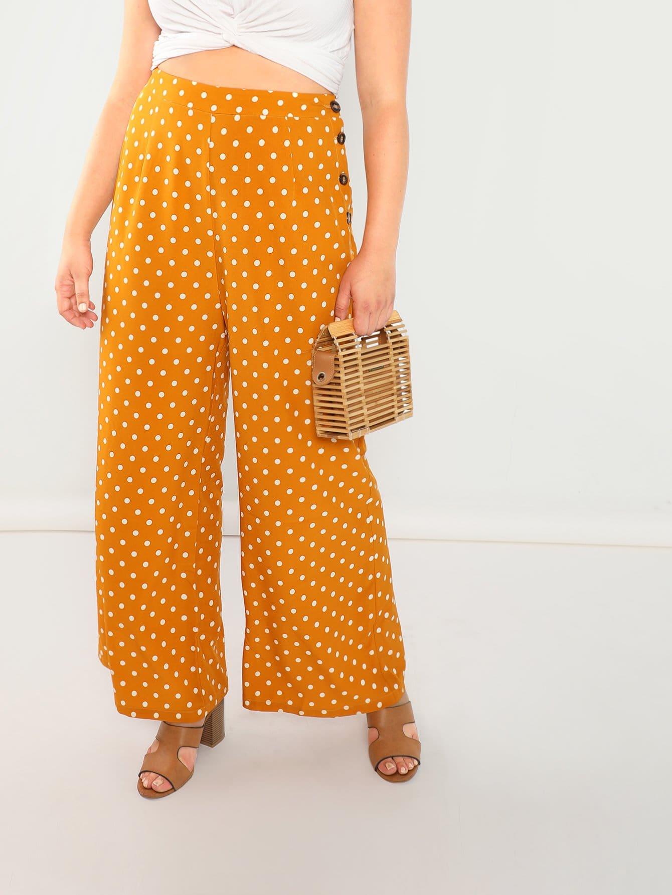 Купить Плюс размеры брюки в крапинку в пуговицу сбоку, Sydney Ness, SheIn