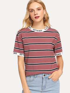 Letter Trim Striped Tee
