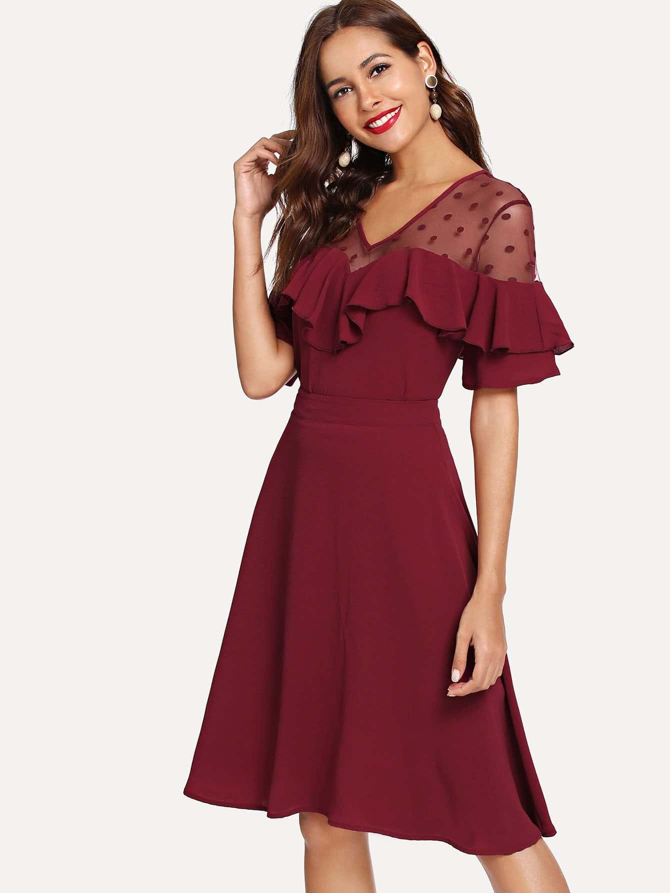Блузка и с рисунками сетчатых точк и плечо с розеткой и юбка, Giulia, SheIn  - купить со скидкой