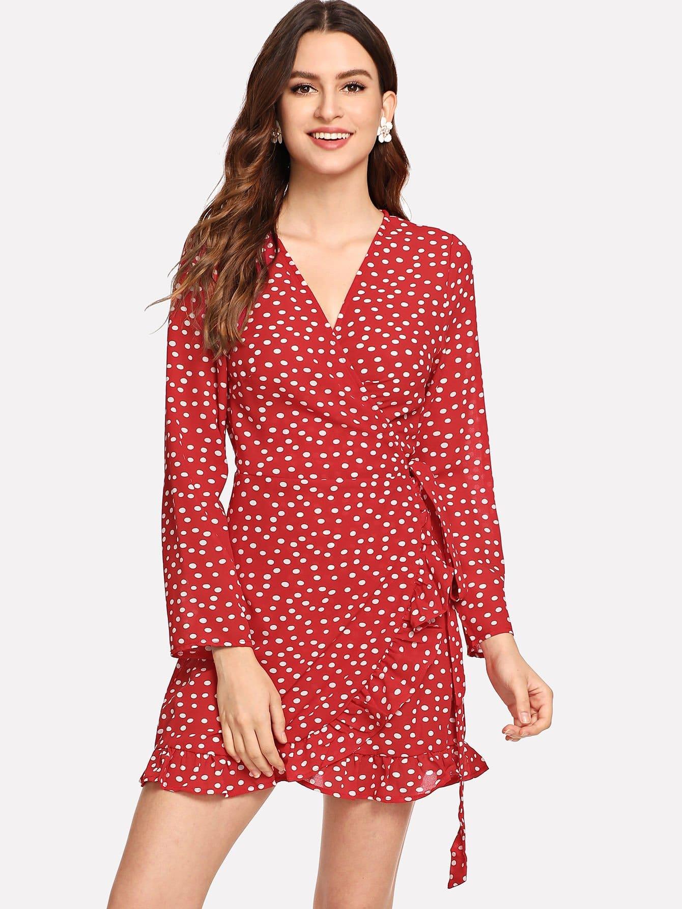 Купить Асимметричное плетье с запахом и с рисунками точки, Jana, SheIn
