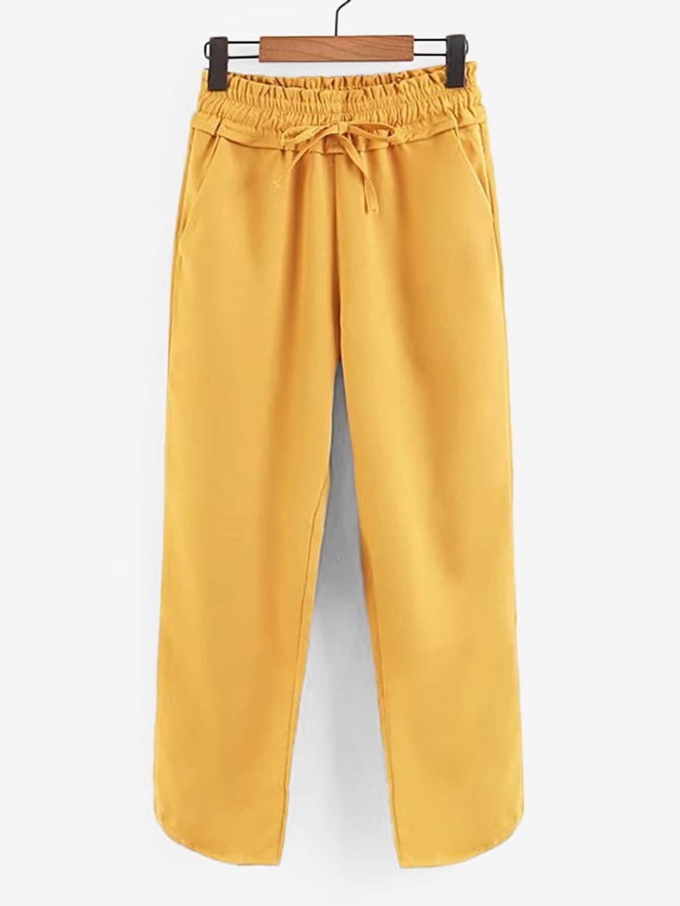 Купить Простые брюки с басоном эластичным, null, SheIn
