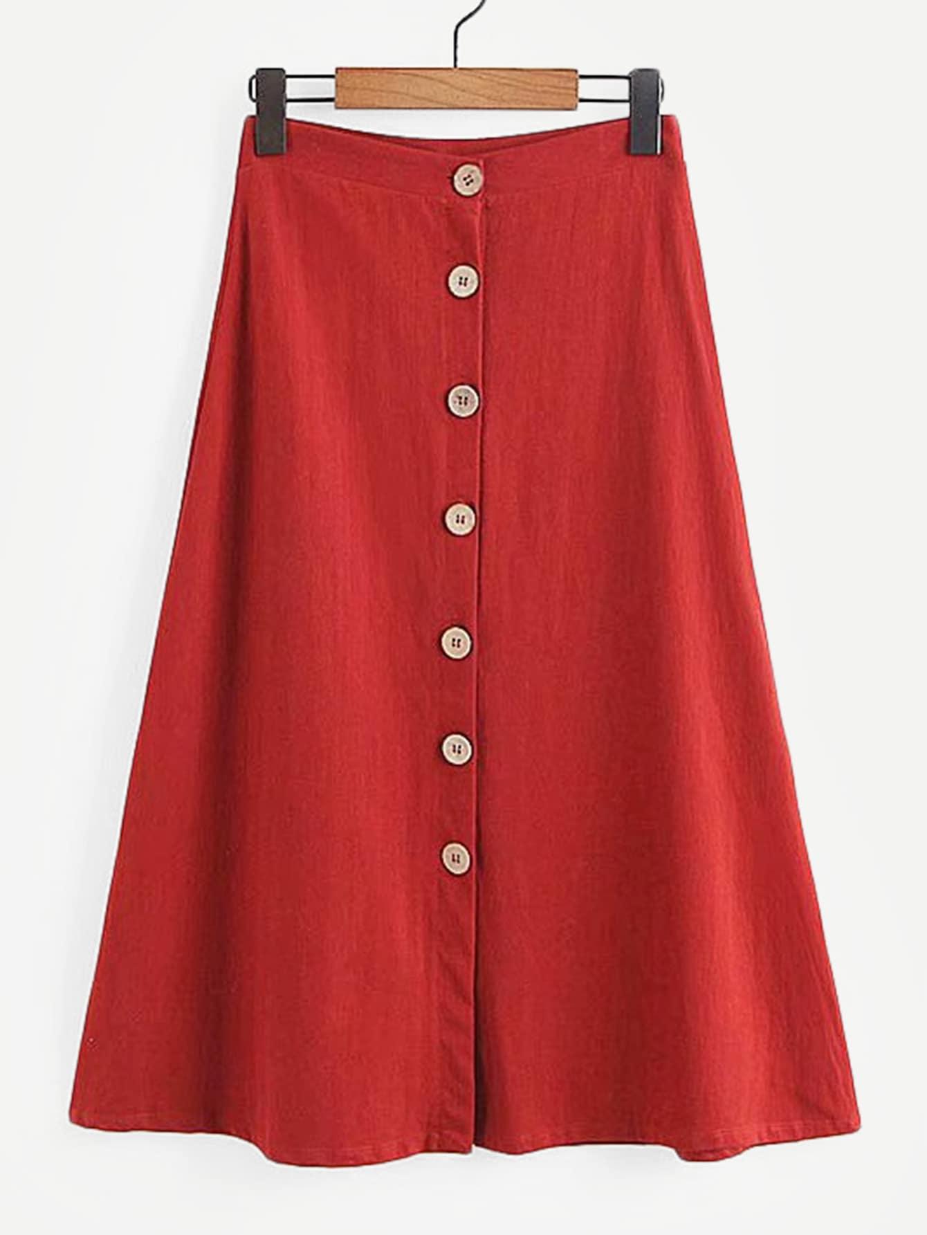 Простая юбка с украшением пуговицы, null, SheIn  - купить со скидкой