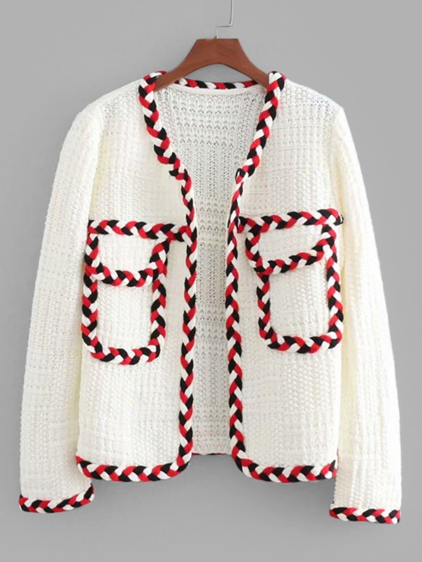 Contrast Trim Pocket Front Sweater citroen ветровики дверей jumper 2006–н в шелкография белая хром