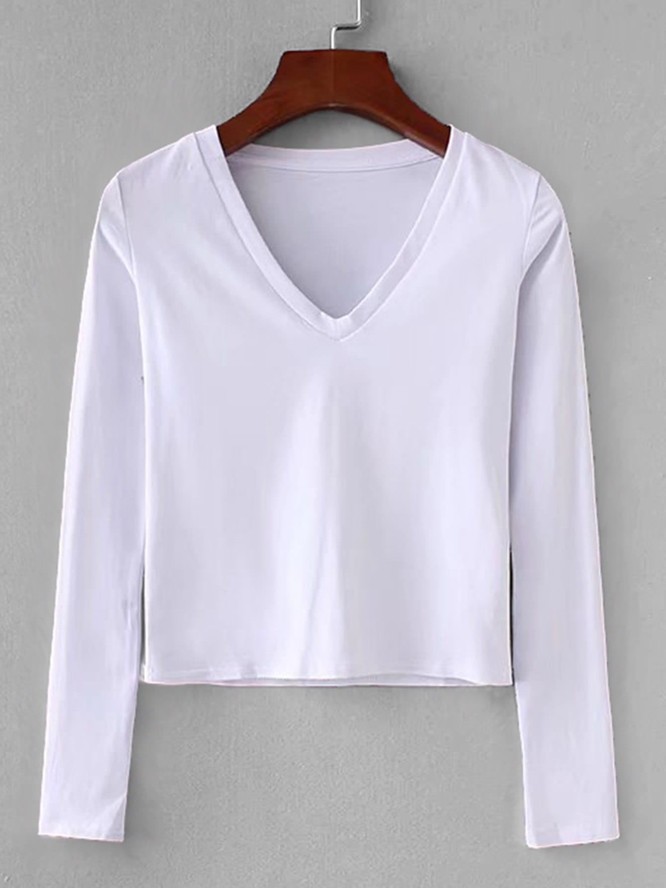Купить Простая кроп-футболка с V-образным воротником, null, SheIn