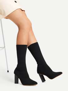 Black Glamorous Sock Boots Boots, size features are:Bust: ,Length: ,Sleeve Length: