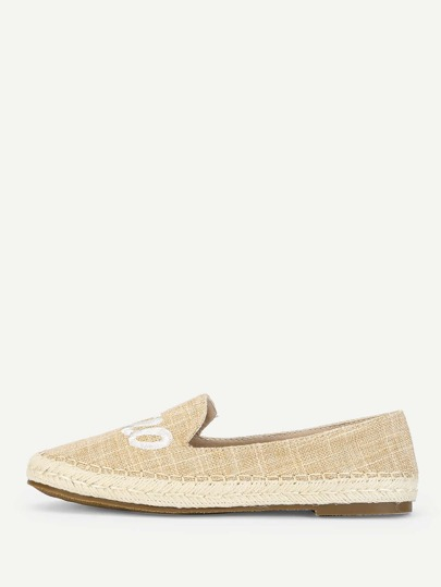 Romwe / Embroidered Letter Espadrille Flats