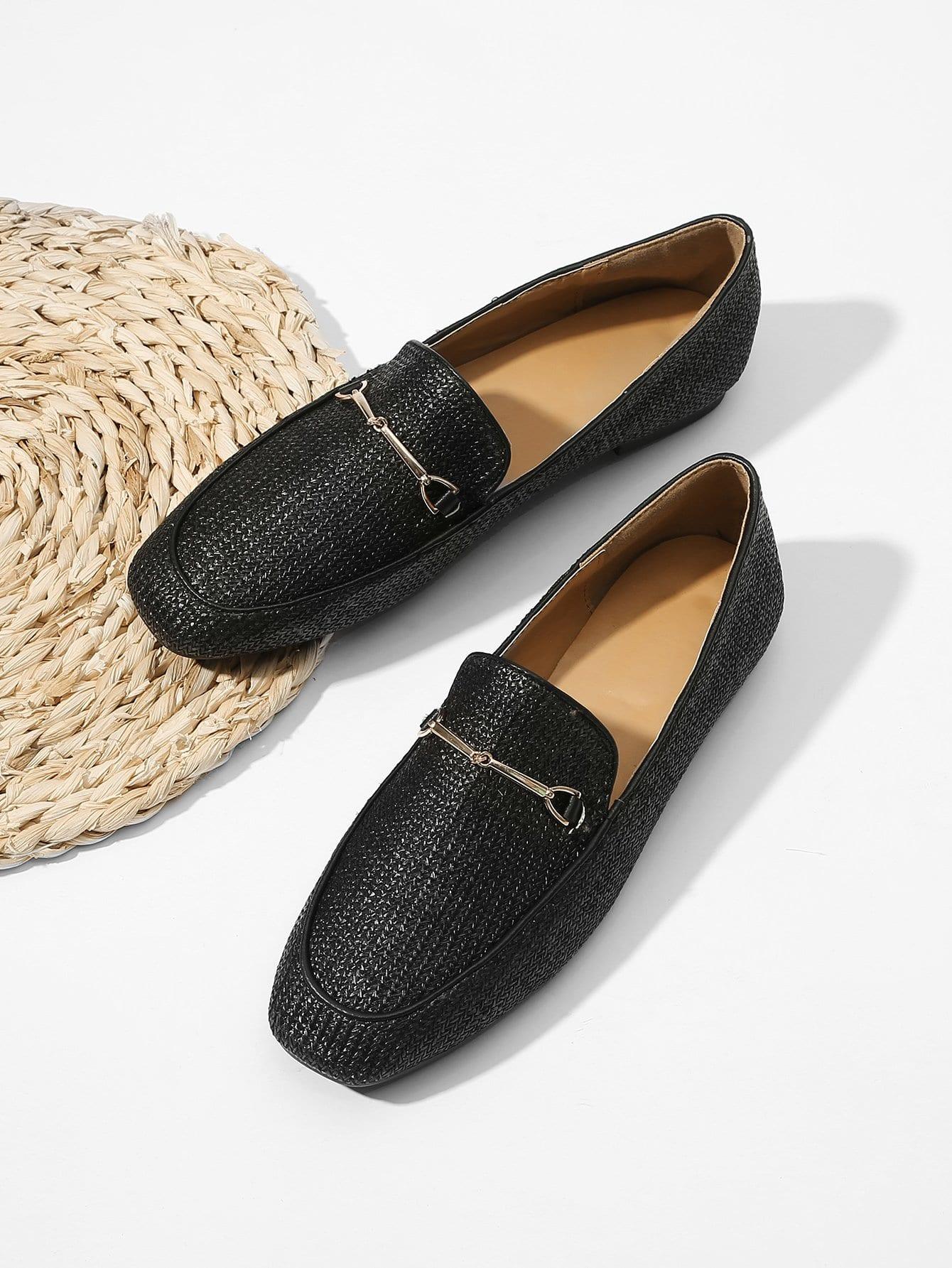 Купить Соломенные туфли на плоской подошве с украшением металла, null, SheIn