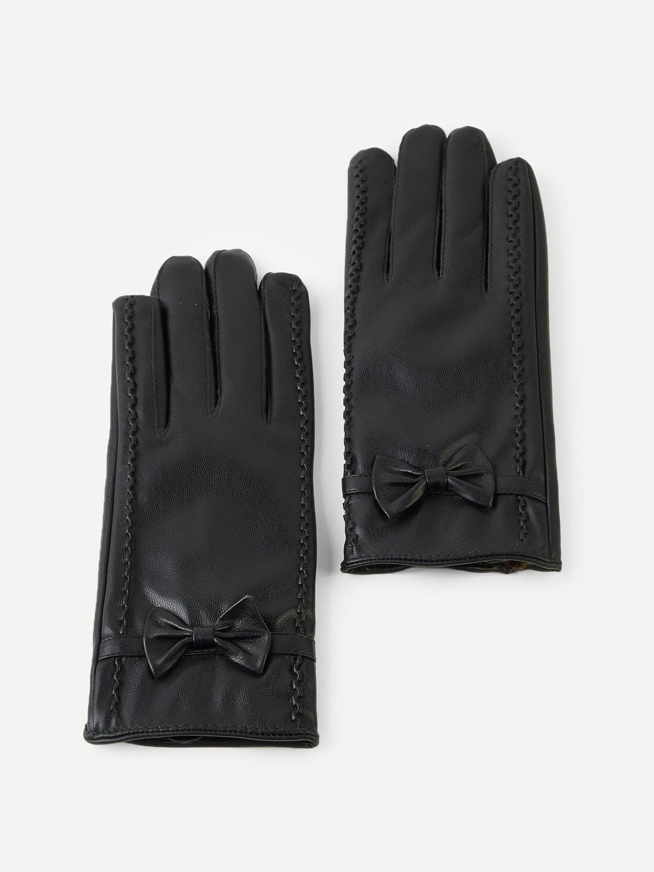 Кожаные перчатки с украшением бабочки от SheIn