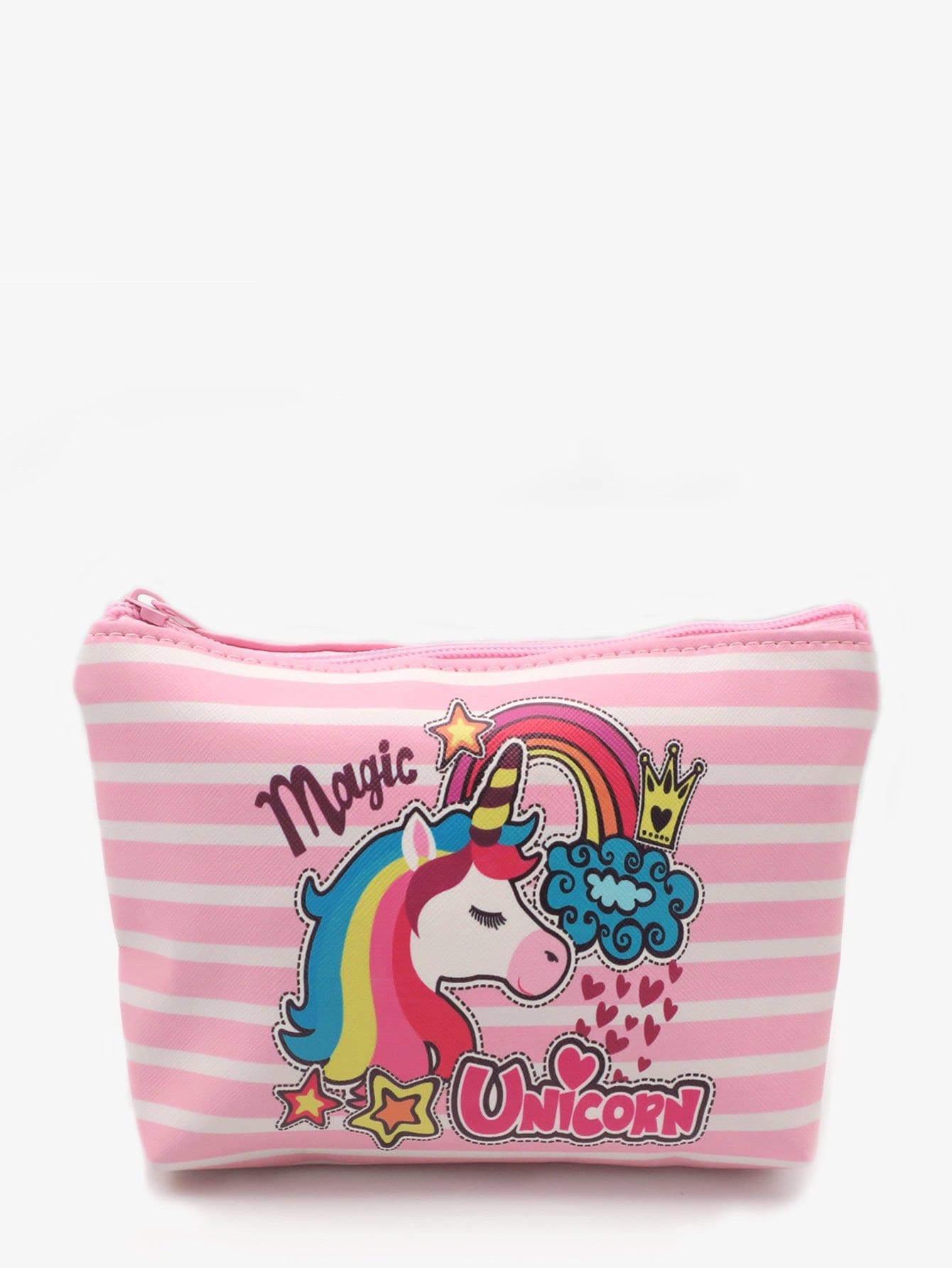 Unicorn Print Striped Makeup Bag