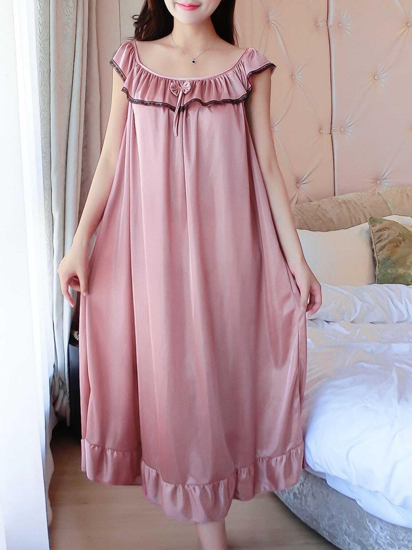 Bow Detail Ruffle Hem Night Dress