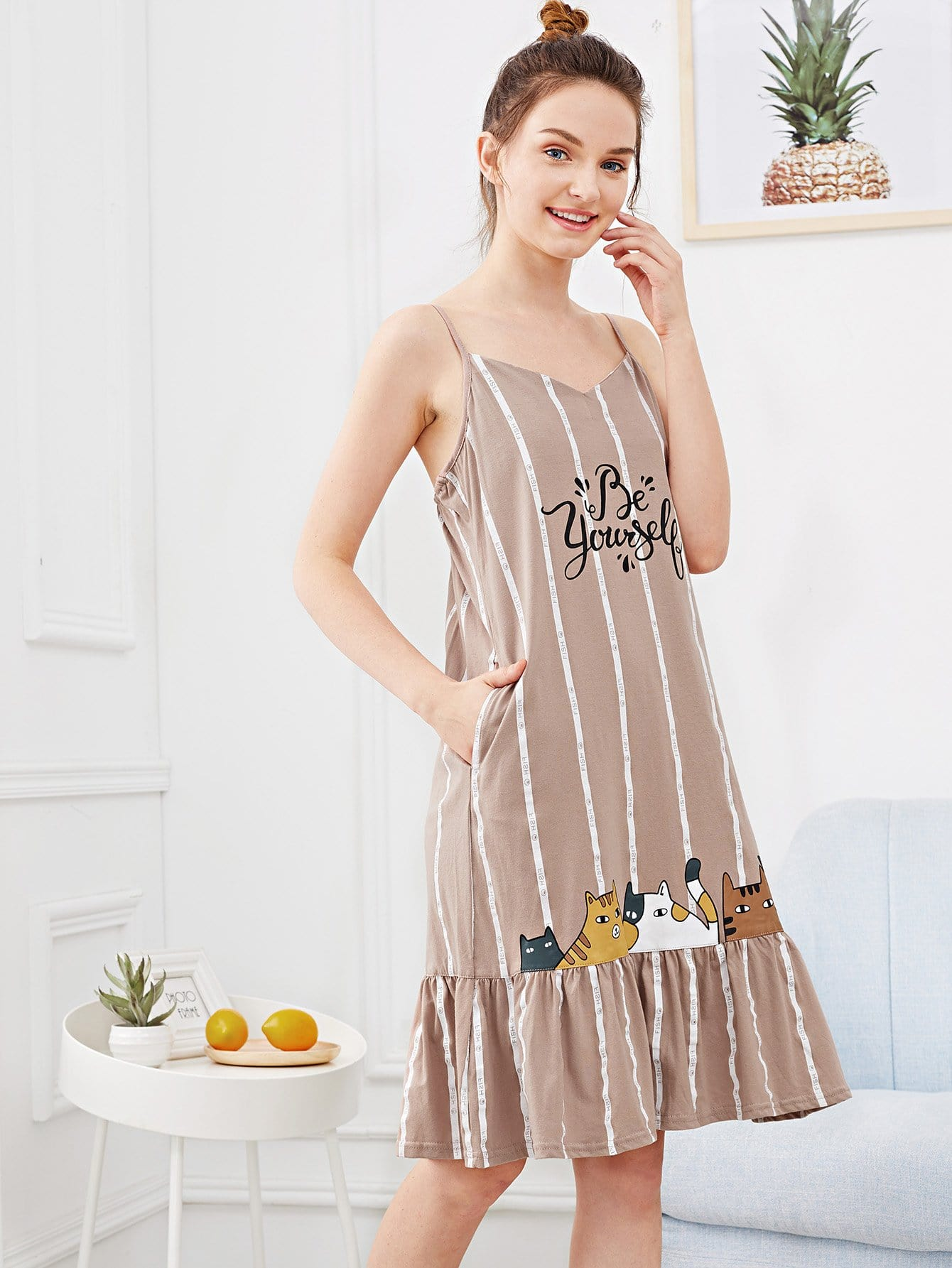 Cat Print Ruffle Hem Night Dress