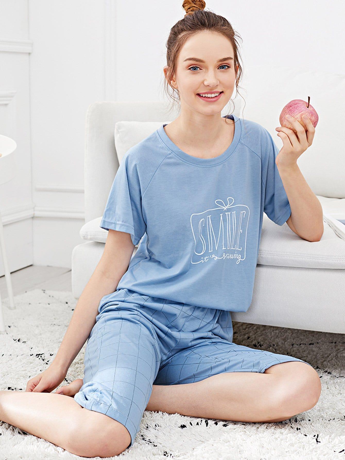 Letter Print Plaid Pajama Set