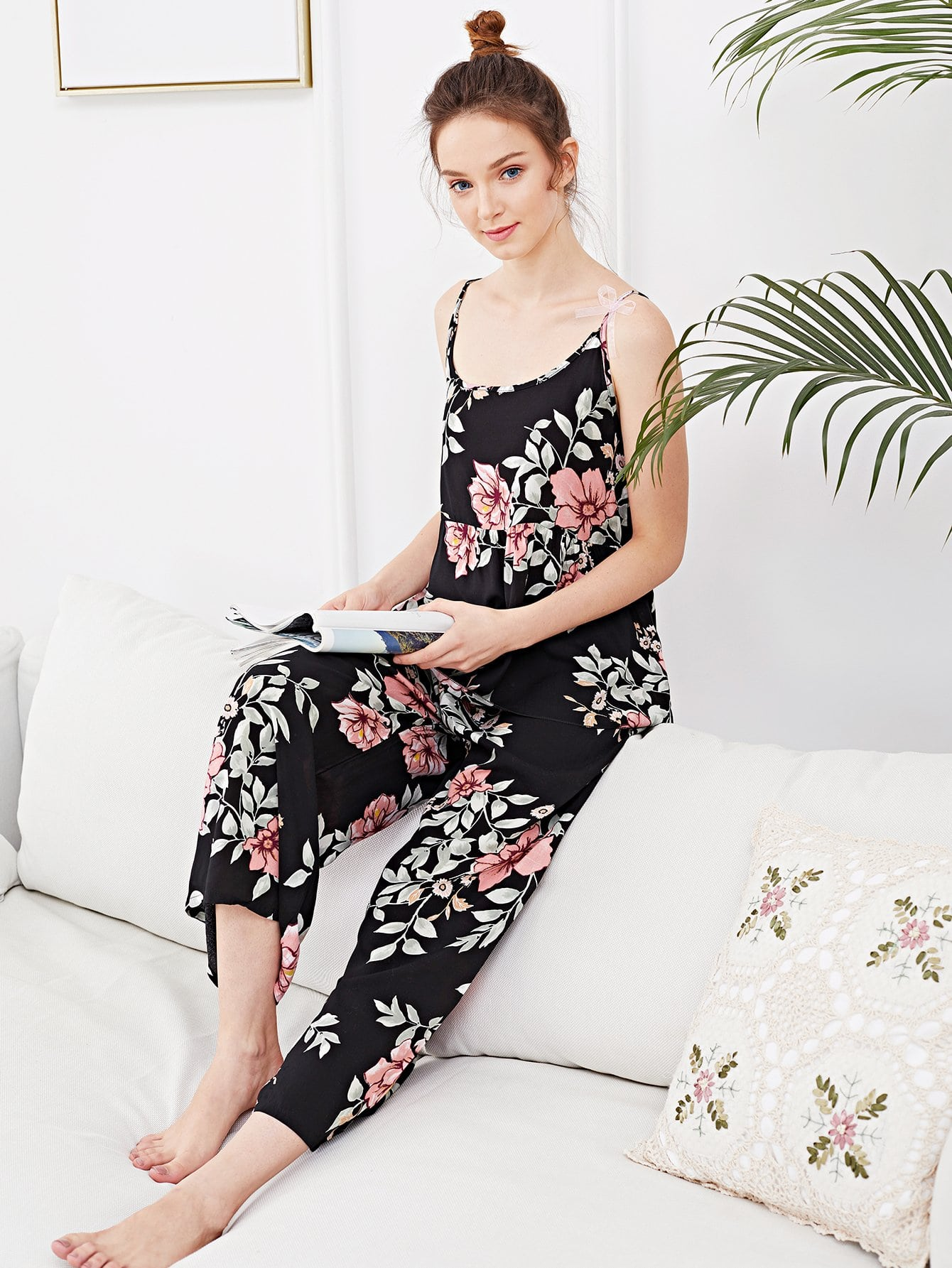 Купить Комплект ситцевой пижамы на бретелях, Tory, SheIn
