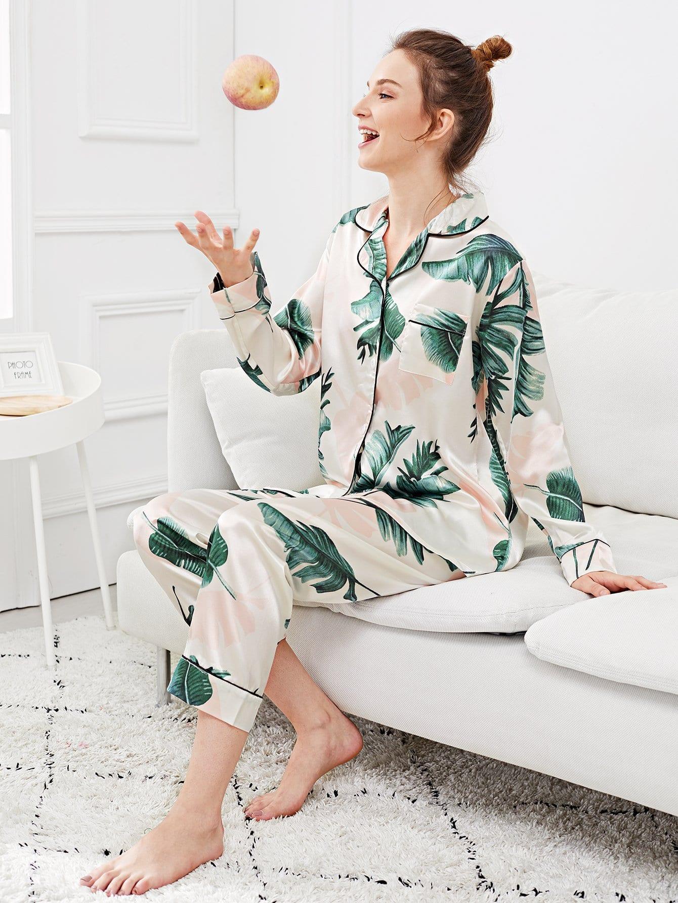 Купить Набор пижамы с рисунками пальм и с украшением пуговицы, Tory, SheIn