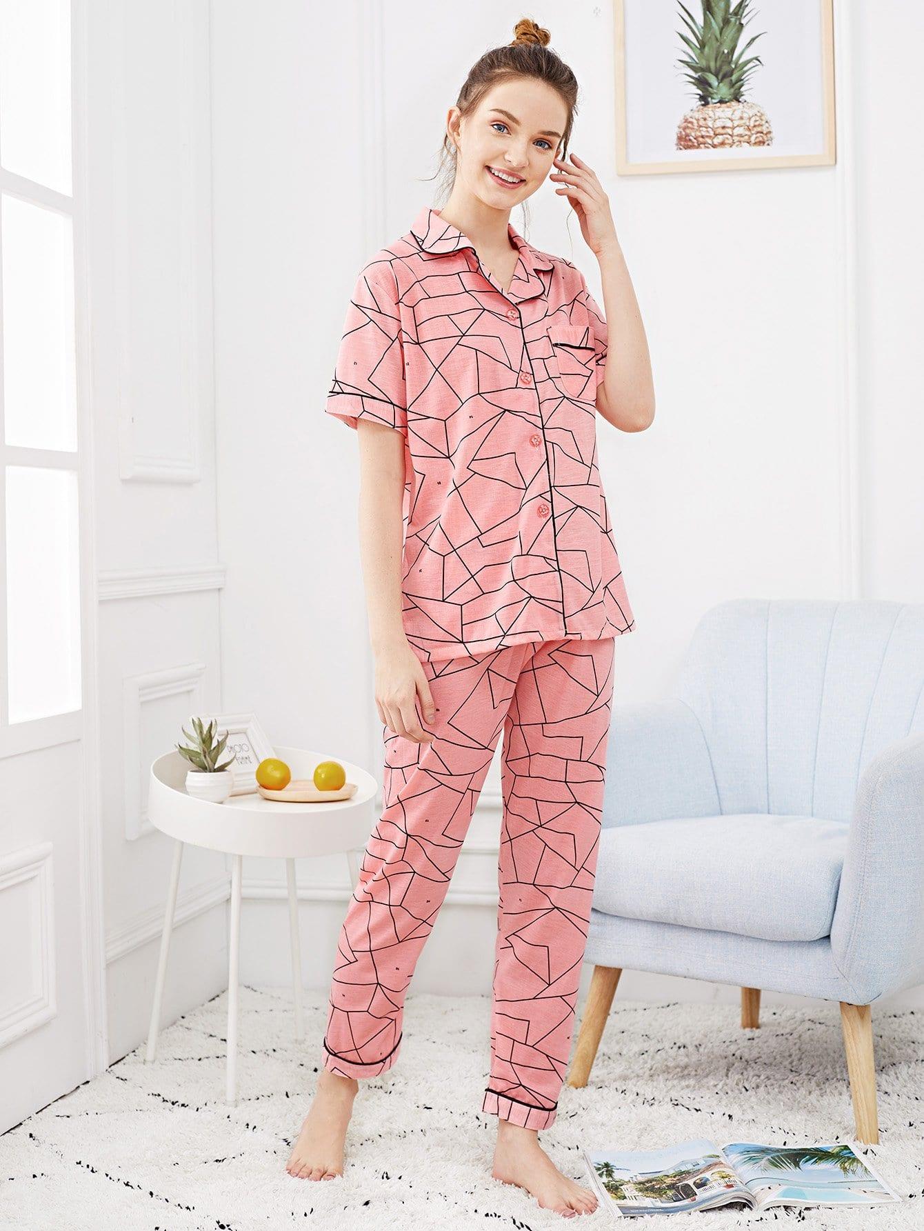 Купить Набор пижамы с рисунками геометрий и с украшением пуговицы, Tory, SheIn