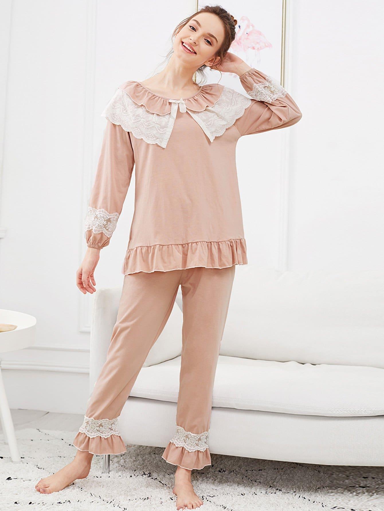 Набор ситцевой кружевной пижамы и подол с розеткой