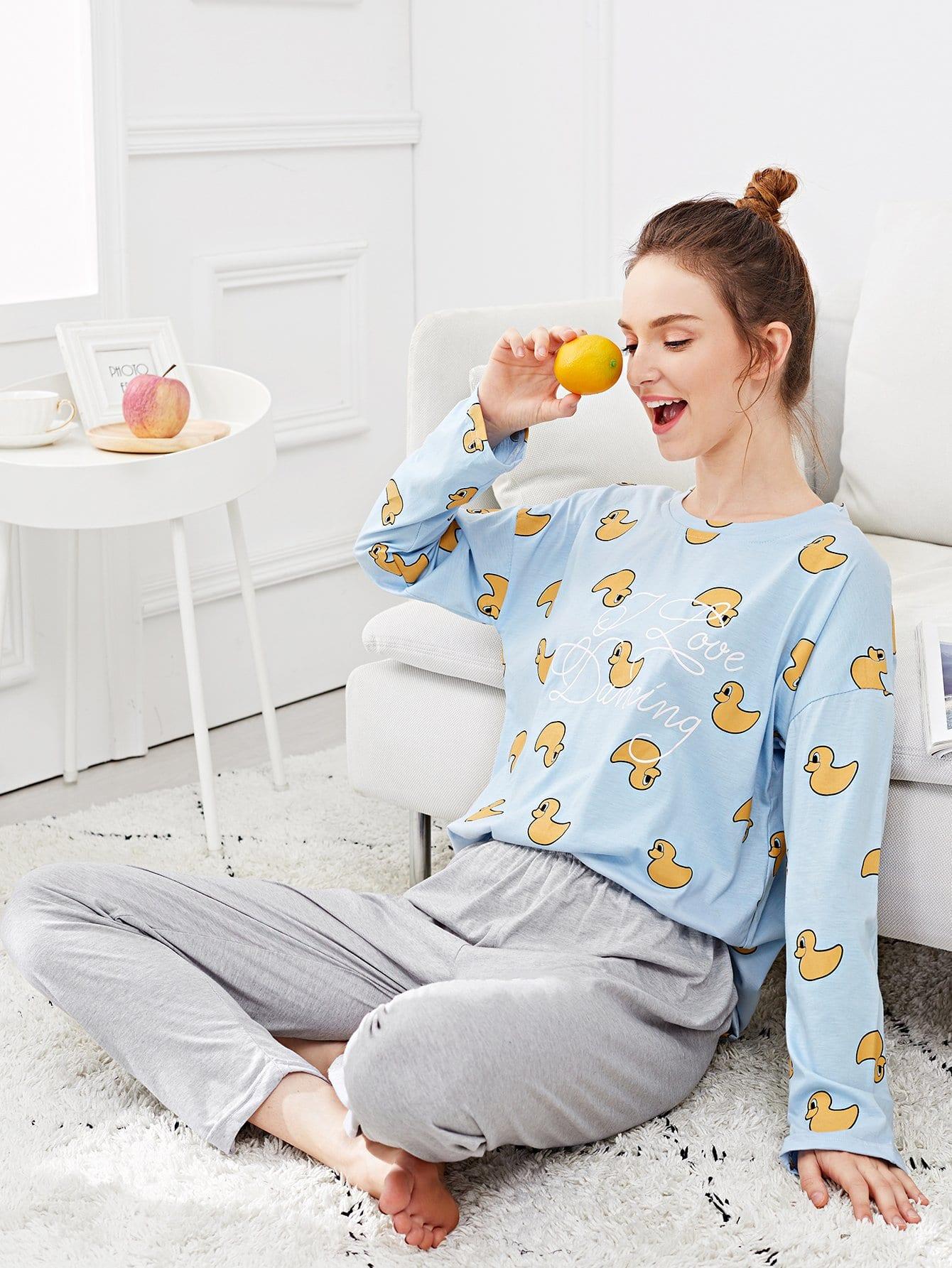 Купить Набор пижамы и с рисунками утки и буквы, Tory, SheIn