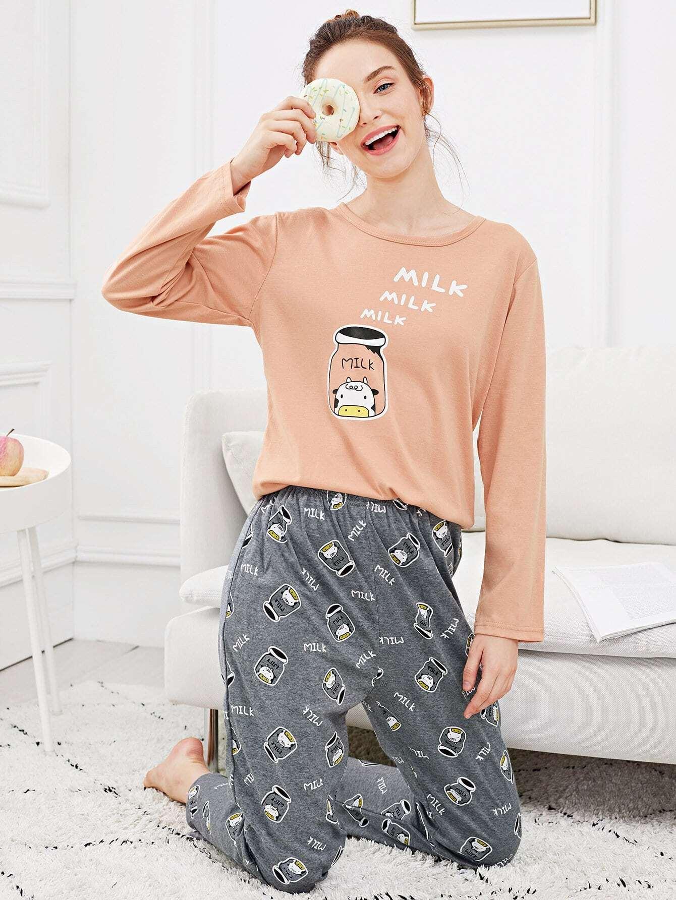 Купить Комплект пижамы и с рисунками быка и буквы, Tory, SheIn