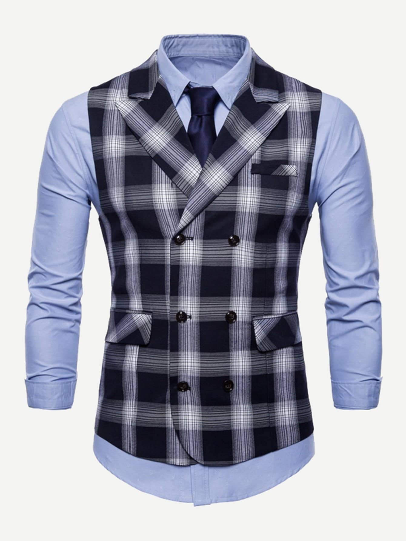 Men Double Breasted Plaid Outerwear