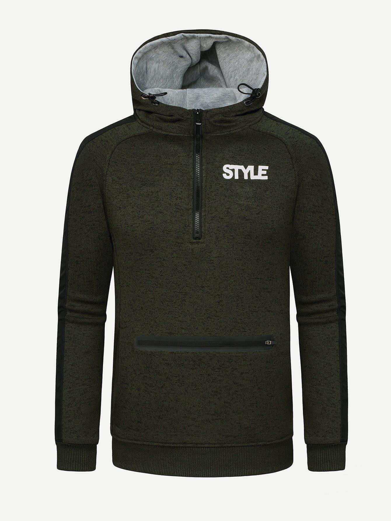 Men Zipper Detail Letter Print Hooded Sweatshirt