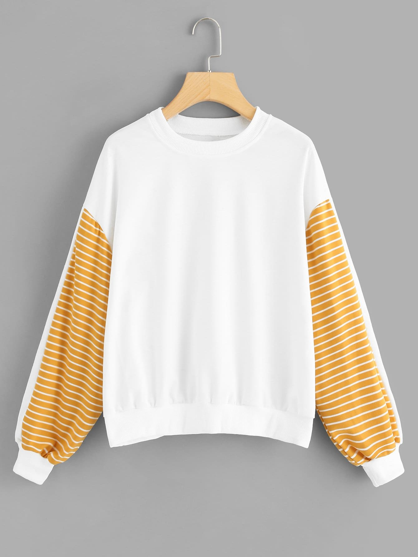 Contrast Striped Panel Sleeve Sweatshirt