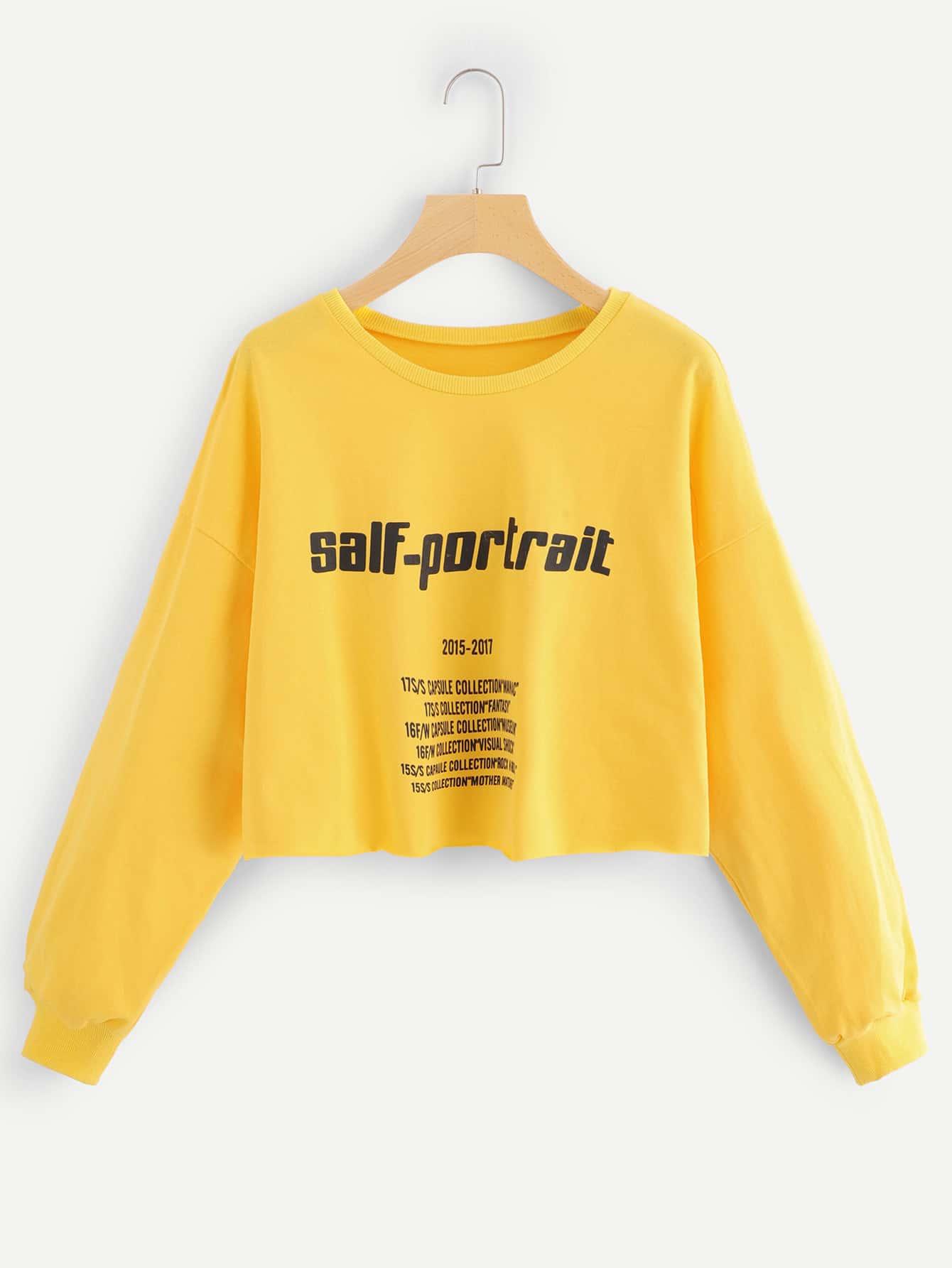 Sweatshirt mit sehr tief angesetzter Schulterpartie und Buchstaben Muster