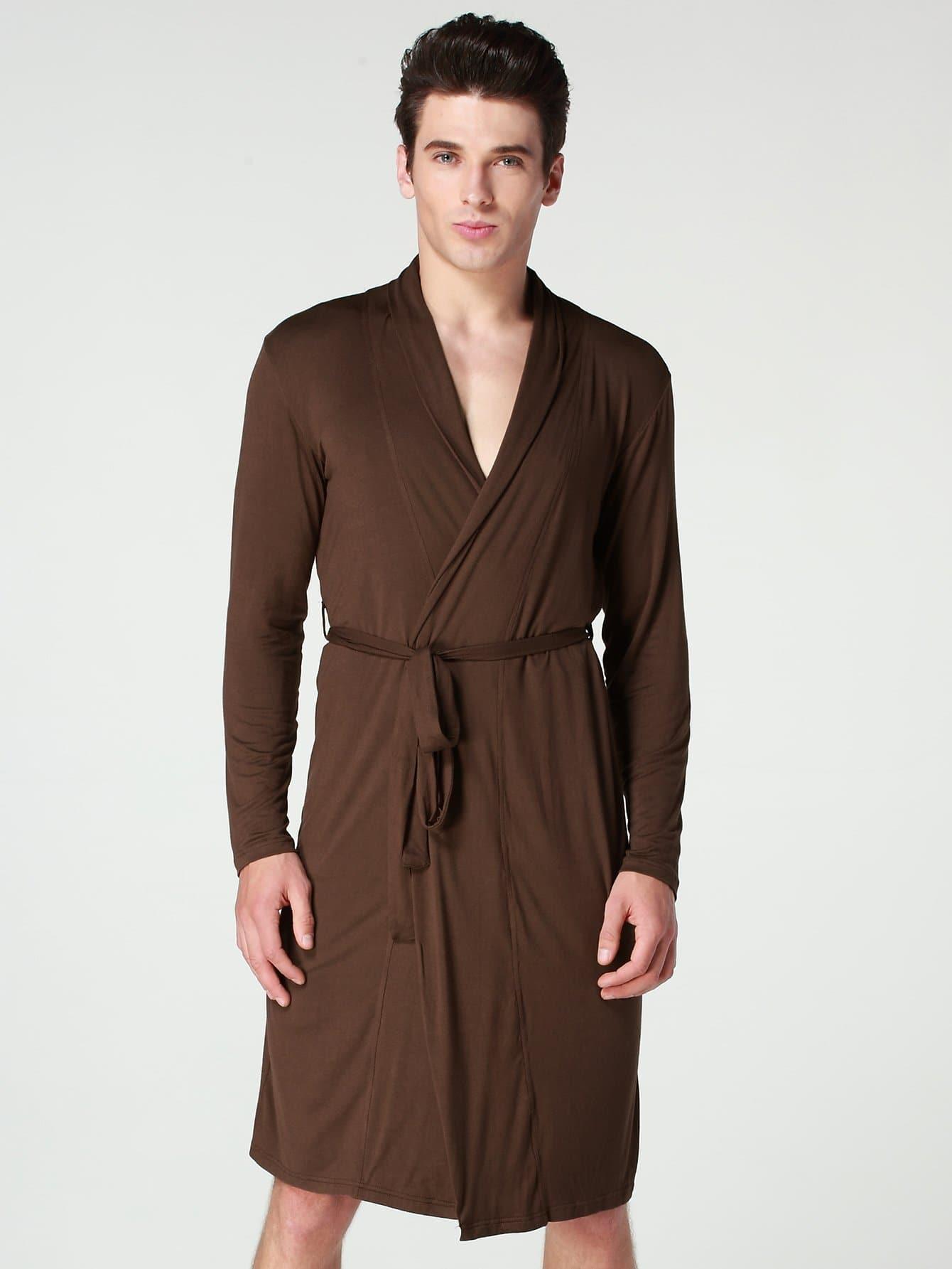 Купить Простой домашний халат с поясом для мужчины, null, SheIn