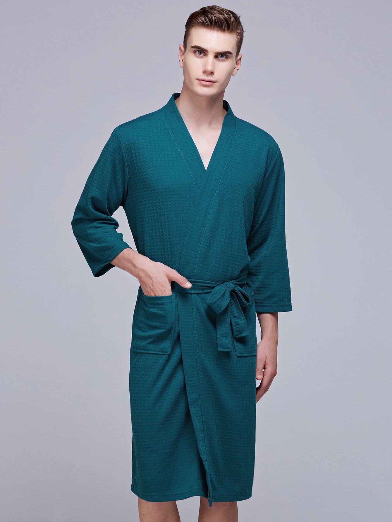 Купить Домашний халат с запахом и с поясом для мужчины, null, SheIn