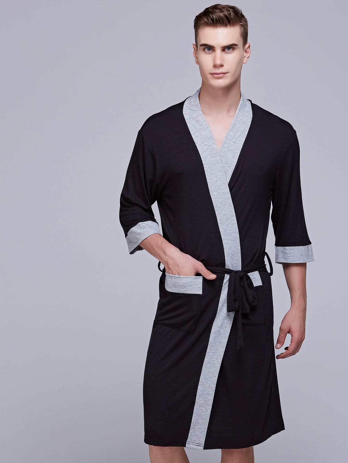 Купить Контрастный домашний халат с поясом для мужчины, null, SheIn