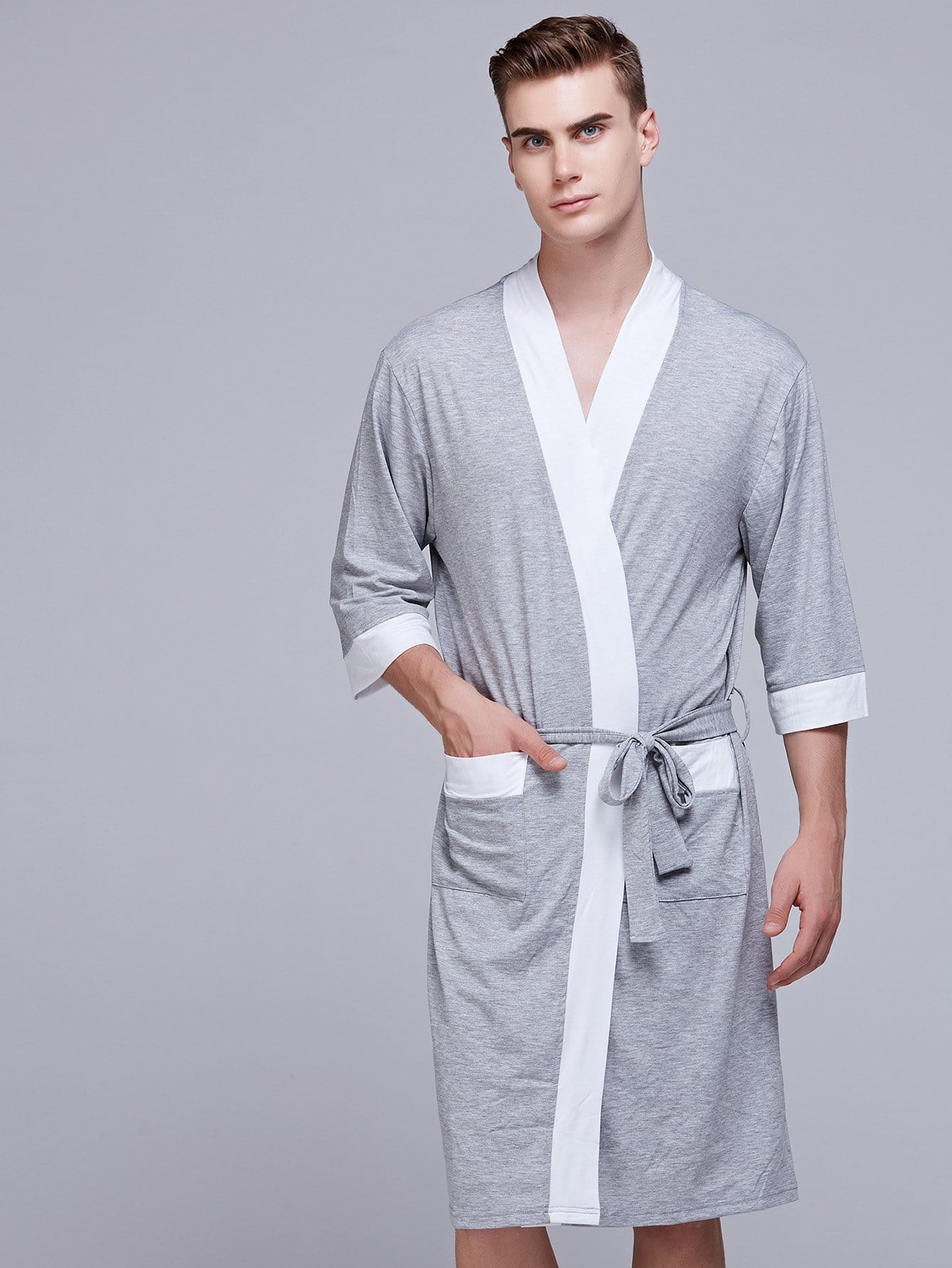 Men Colorblock Self Belted Robe