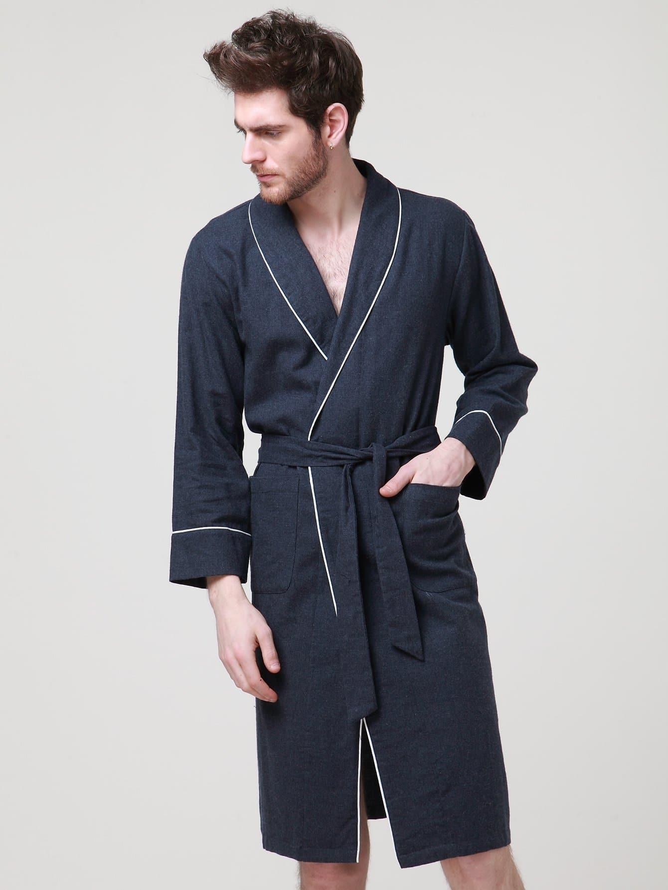 Купить Домашний халат с поясом и со симметрическими Binding для мужчины, null, SheIn
