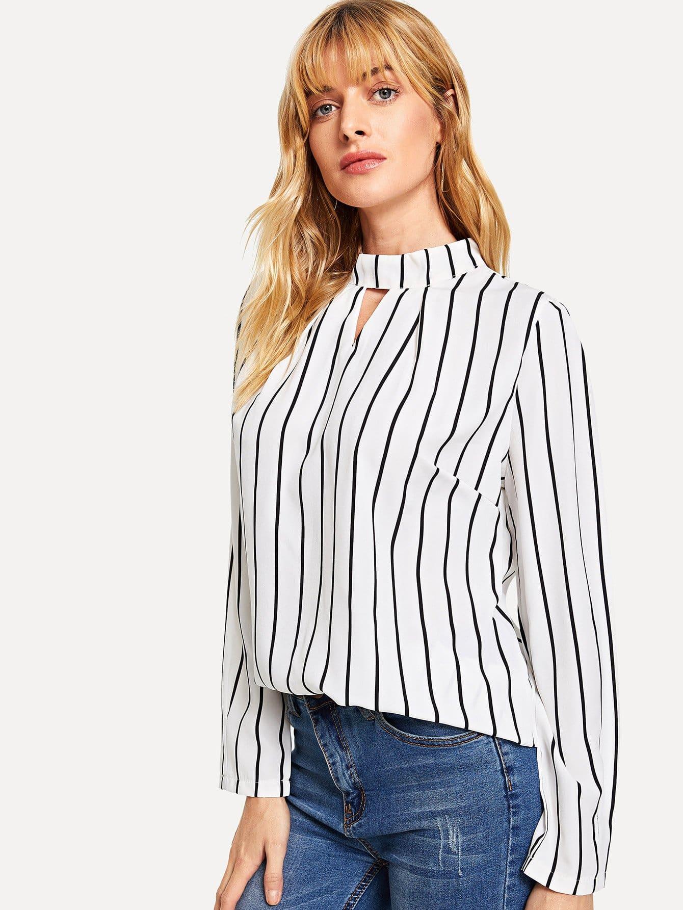 Купить Полосатая кроп-рубашка, Masha, SheIn