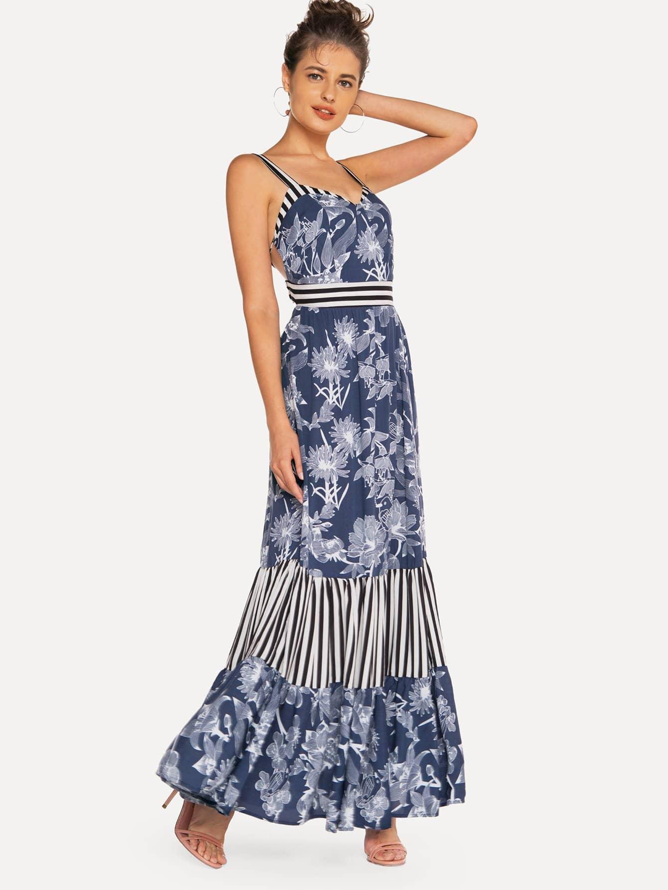 Купить Cami платье в полоску с цветочным принтом, null, SheIn