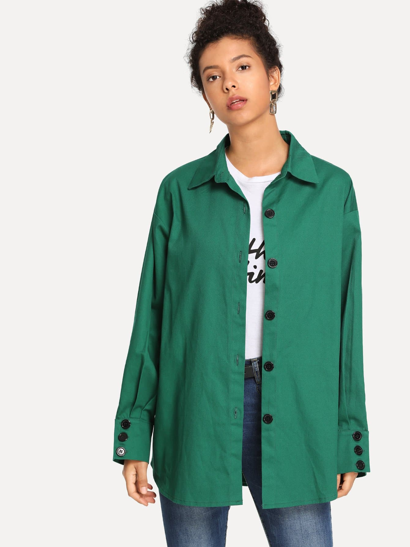 Button Detail Solid Jacket