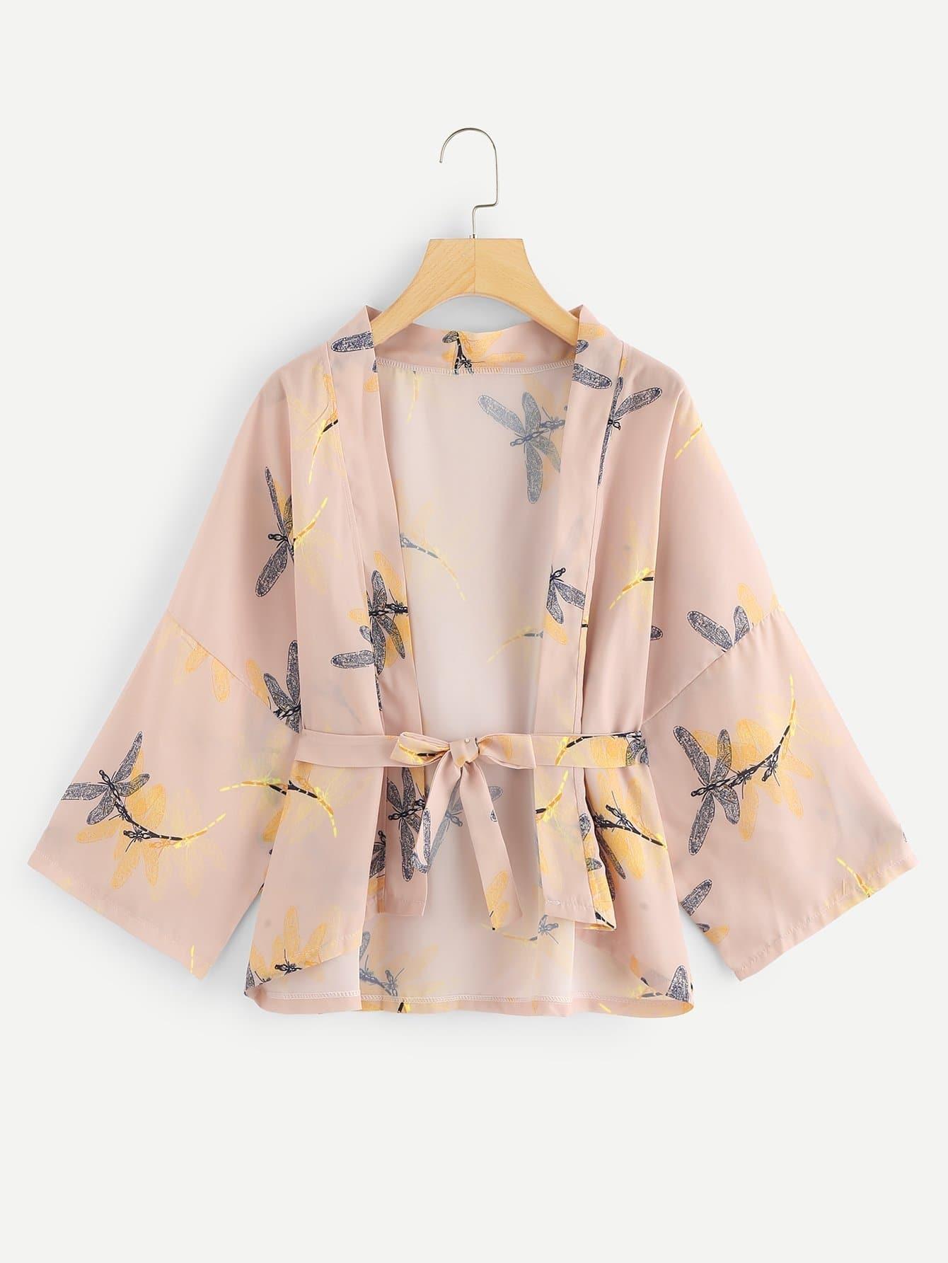Купить Печатное кимоно с поясом, null, SheIn