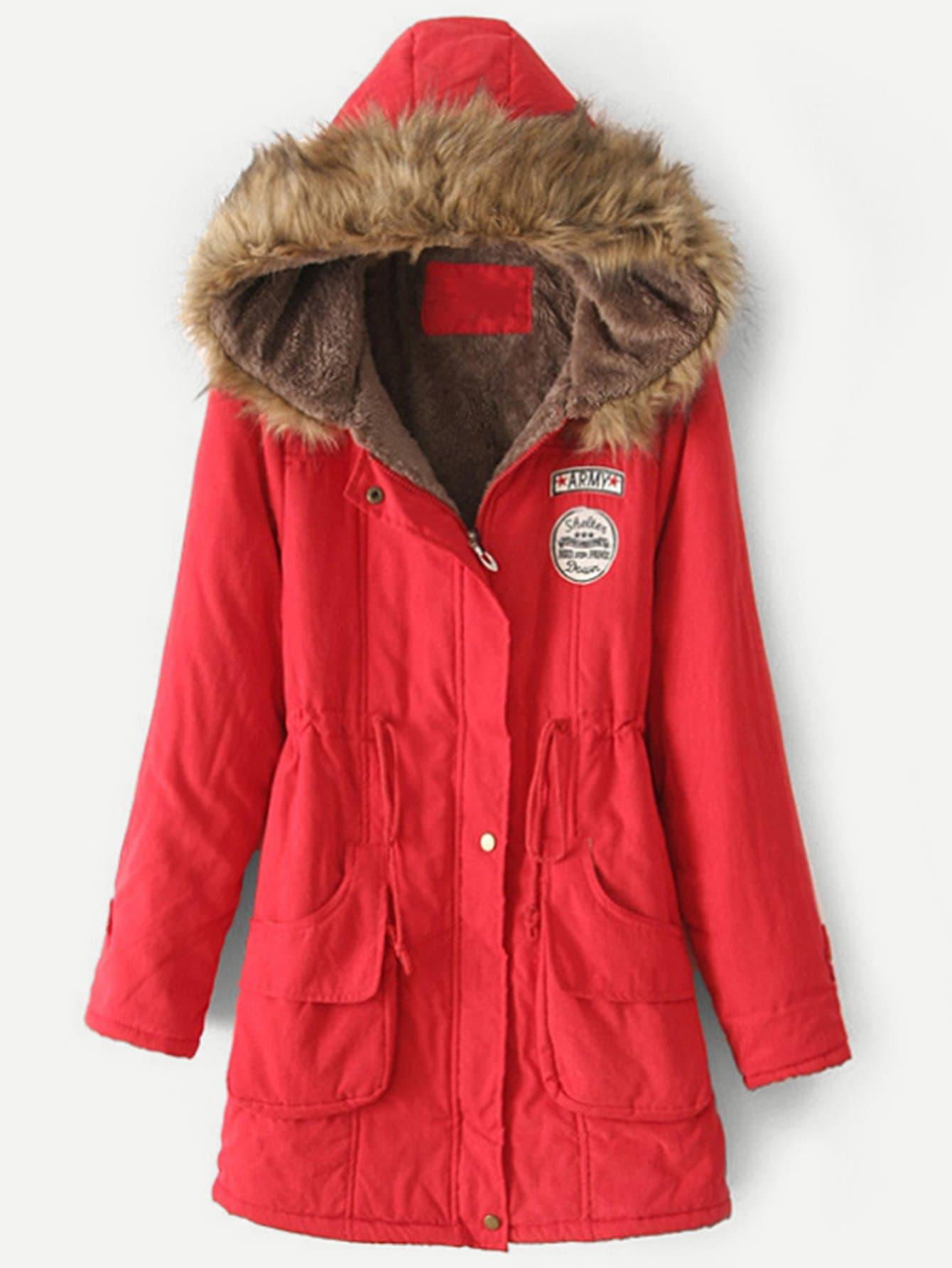 Купить Пальто с капюшоном и с украшением заплаты и с басоном эластичным, null, SheIn