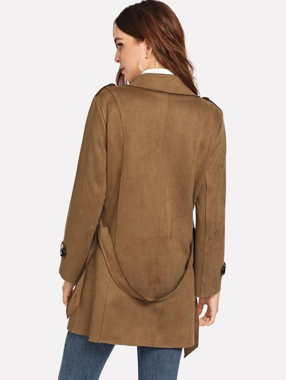 Romwe / Plain Double Breasted Epaulette Coat