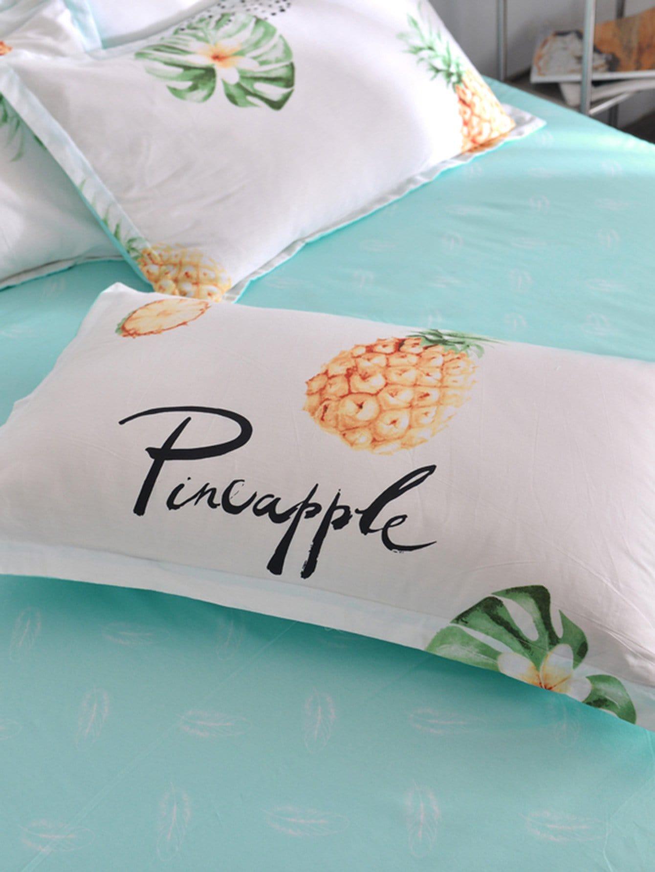 Kissenbezug 1 Paar mit Ananas und Buchstaben Muster