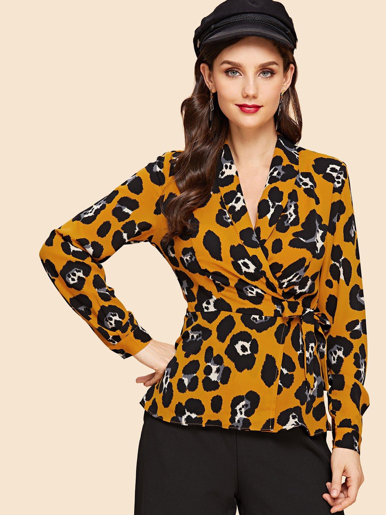Купить Леопардовая блузка и с украшением банта, Julie H., SheIn