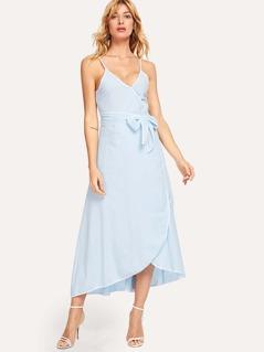 Contrast Binding Surplice Wrap Cami Dress