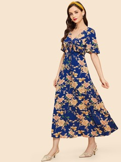 Ruffle Detail Knot Floral Dress